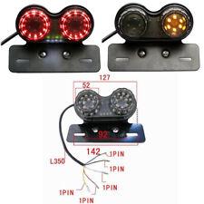Smoke LED License Plate Turn Signal Tail Light For Bobber Cafe Racer ATV Chopper