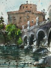 Landscape Painting Watercolour Original Rome Italy Castle Cityscape 15x11 in