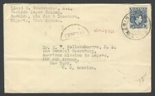 Nigeria 1941 cover DAMATURU to USA with black semi circle CENSOR hs