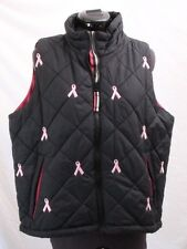 Coldwater Creek Pink Ribbon Breast Cancer Full-Zip Puffer Vest Women's Small