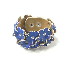 Leather Wrist Cuff Bracelet Floral Leather Blue Flowers Rhinestone Centers