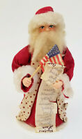"""1988 SIGNED CONNIE KRIZNER FOLK ART HAND CRAFTED LAST MINUTE CHECK SANTA ~ 7.5"""""""