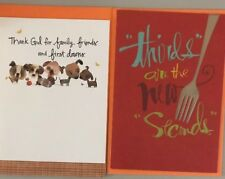Two Thanksgiving Hallmark Greeting Cards New/Envelopes
