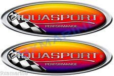 "Two Aqua Sport Boat Oval Racing Decals 10""x3.5 each"