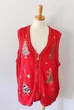 Ugly Christmas Sweater vest Jumper Women 1X men XL animal print Trees 2side CS26