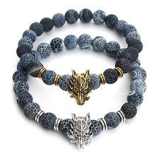 Mens Natural Weathering Lava Bead Stone Bracelet Gold Silver Dragon Head 8mm