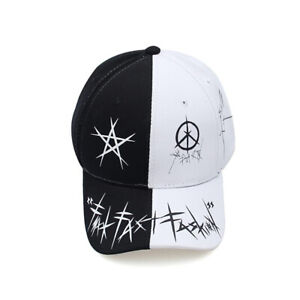 Niepce Streetwear No Fear Rapper Double Colored Baseball Cap Black and White