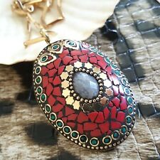 """18k Gold Natural Coral Malachite Teardrop Faceted Moonstone Pendant Necklace 18"""""""