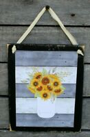 Sunflower Bouquet in Mason Jar Rustic Farmhouse Wooden Wall Sign Plaque