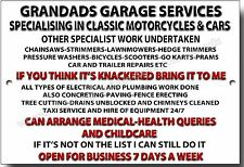 GRANDADS GARAGE SERVICES HUMEROUS METAL SIGN.GRANDAD GIFT,DIY,WORHSHOP,HANDYMAN.
