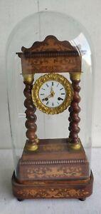 PENDULE PORTIQUE Style CHARLES X Horloge colonnes torsadees XIXe marquete JAPY