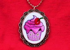 CUPCAKE CHERRY CAKE BAKER SWEETS PENDANT NECKLACE