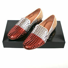 GIACOMORELLI studded spike tri-color metallic gold loafers spiked shoes 39/6 NEW