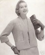 Vintage Knitting Pattern to make Designer Short Jacket Shortie TuxedoCollar