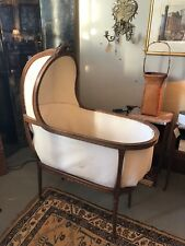 Antique 19th Century Louis XVI Style Carved Walnut Bassinet Horse Hair Cushion
