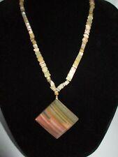 Statement Necklace Thick Pendant Marble Glass Stone Vintage Multi-Tone Unique