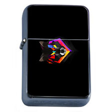 Rainbow Wolf Em4 Flip Top Oil Lighter Wind Resistant With Case