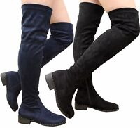 Ladies Womens Over The Knee Thigh High Flat Low Block Heel Stud Boots Shoes Size