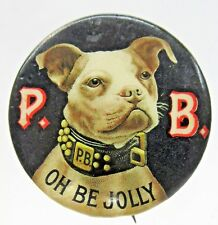 """c. 1910 P.B. Ale Oh Be Jolly Dog 1.25"""" pinback button Bunker Hill Brewery Beer ^"""