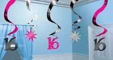**16TH BIRTHDAY CELEBRATIONS**    Sweet 16 Sparkle Hanging Swirl Decorations!