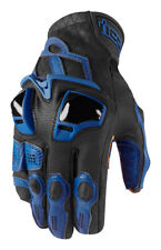 Icon Motosports HYPERSPORT Short Leather Riding Gloves (Blue) Choose Size