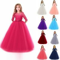 Children Girls Lace Bowknot Princess Wedding Performance Formal Tutu Party Dress