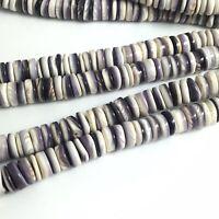 "15.5"" - Natural Purple Wampum Quahog Shell 8mm Heishi Round Beads, NEW Special"
