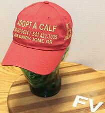 """ADOPT A CALF"" JVB DAIRY IONE OREGON HAT STRAP ADJUSTABLE RED & GOLD VGC"