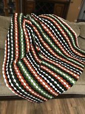 "Crochet Afghan Blanket Throw Shell Stitch Striped  Handmade 45""x 60"""