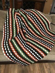 "Crochet Afghan Blanket Throw Shell Stitch Striped Knit Handmade 45""x 60"""