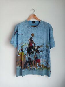 Rare Vintage Nike Air Jordan Playground All Overprint 90's t-shirt NBA Bulls
