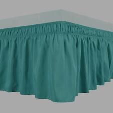 Knitwitz Wrap Around Bed Skirts Egyptian Cotton Elastic Ruffle Bedskirt Blue