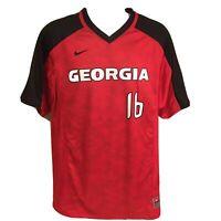 Nike Team Mens Soccer Jersey Georgia Bulldogs #16 Large Red Black Free Shipping