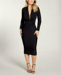 New KW Long Sleeves Ruched Side Midi Black Office Bodycon Dress Sz 12 | 14 | 16