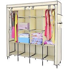 Portable 12 Shelves Wardrobe 4 Side Pockets Hanging Clothes Storage Rack Shelf