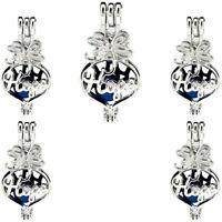 (5 Pack) Silver Heart Hope Letter Beads Cage Locket Pendant K1115