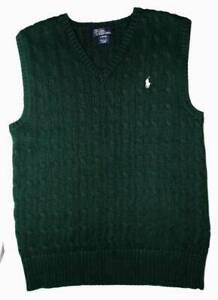 Boy's Polo Ralph Lauren Dark Green Cable Knit V-Neck Sweater Vest L 14-16 EUC