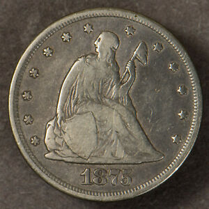 1875-CC TWENTY CENT 20C SILVER PIECE ** ORIGINAL FINE, TOUGH MINT! Lot#R586