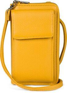 Damen Geldbörse Einfarbig mit RFID Schutz Handy Fach, Umhängetasche Schultergurt