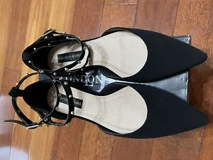 LONDON REBEL Black Suede Pointed Metal Accent Flat Ankle Strap Shoes -New Box- 9