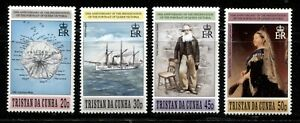 TRISTAN DA CUNHA 1996, HISTORY: QUEEN VICTORIA, SHIP, MAP, Scott 588-591, MNH