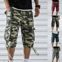 Men's Casual Loose Fit Cargo Shorts Straight Multi-Pocket Camo Outdoor Shorts