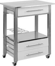White Stainless Steel Kitchen Trolley Kitchen Storage Drawers Wine Rack Glasses