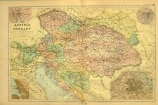1894 MAP AUSTRIA HUNGARY BOHEMIA VIENNA MORAVIA TYROL BOSNIA DALMATIA PRAGUE