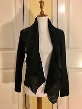 Reduced! NEW $695! HAUTE HIPPIE Black Distressed Leather Rocker JACKET- Small