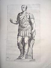 François PERRIER (1590-1650) GRAVURE XVII° STATUE CESAR HOMME ITALIE BAROQUE