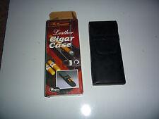 Black Leather Long Size Cigar Travel Case Holder 3 Tube