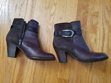 Caressa brown leather ankle boot with side buckle detail, side zipper - Sz 7.5M