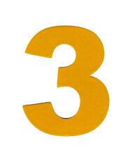 "3X2.5"" Reflective Number Sticker 3 THREE yellow vinyl decal address mailbox sign"