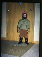1963 Kodachrome photo slide Young boy dressed for cold weather